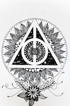 I am a big potterhead and I made this Mandala art inspired by Deathly Hallows sign from the movies. It will look great as a wall decoration. It is made by ink on a 130 GSM A4 size paper. I will deliver this in a moist proof envelope. you can get it framed and hand it on your wall. It is must have for a mandala art lovers.