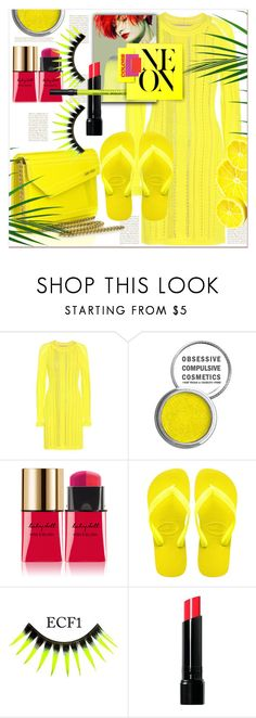 """NEON"" by dragananovcic ❤ liked on Polyvore featuring 3.1 Phillip Lim, Obsessive Compulsive Cosmetics, Yves Saint Laurent, Mary Katrantzou, Jimmy Choo, Havaianas, Bobbi Brown Cosmetics and Urban Decay"
