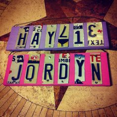 Custom license plate signs for two sweet sisters