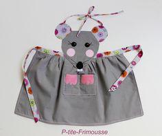"""Tablier originale & unique pour enfant """" Miss souris"""" de 2/5 ans doublé. : Ecole et loisirs par p-tite-frimousse"""
