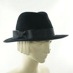 All Black Fedora Hat / Snap Brim / Porkpie Hat by TheMillineryShop