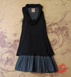 RARE ANTHROPOLOGIE FREE PEOPLE BLACK DRAPED COWL NECK TUNIC PLEATED DRESS XS 0 2 #FreePeople #Tunic