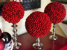 Cranberry Topiary - Holiday Entryway Ideas on HGTV
