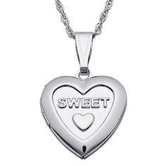 Kids 'Sweet' Silvertone Engraved Heart Locket (Letter X), Women's, Size: 16 Inch, White