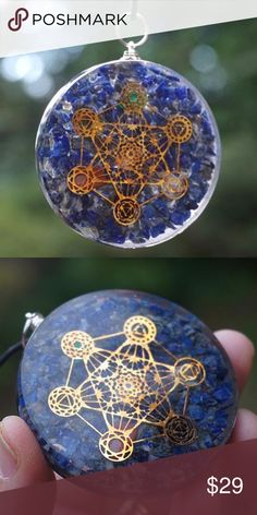 Lapis  Orgone Pendant Necklace  Natural Stone Metatron's Cube Pendants Archangel Metatron is the Guardian of Life & overseer of the flow energy.  The Metatron's Cube is a sacred geometry config that contains every shape that exists in the universe,  can be used to promote peace and balance, clear lower energies and for personal transformation.  These pendants combine the powerful energy of Metatron's Cube with the shielding properties of Orgone, and come in several gemstones.  Pendants also…