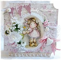 "Card created by LLC DT Member Becky Hetherington, using papers from Maja Design's Vintage Spring & Summer Basics collections and the Magnolia image ""Tilda With Daisy""."
