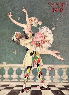 Frank Leyendecker: Harlequin, January 1917, Vanity Fair Cover, F.X. Leyendecker