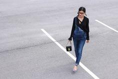 WoahStyle.com   Street Style Denim Overalls with Silk Zara shirt and blue Alexander Wang Antonia heels sandals_1430.JPG