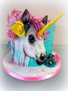unicorn cake by Ivciny dortiky Fancy Cakes, Cute Cakes, Beautiful Cakes, Amazing Cakes, Little Pony Cake, Unicorn Foods, Horse Cake, Animal Cakes, Painted Cakes