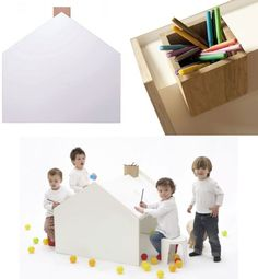 Cute but quite functional, the Deskhouse is as the name suggests: a house-shaped desk. From KidsLoveDesign, the object serves multiple quintessentially child-oriented functions, as play fort, tilted drawing surface, and the chimney acts as storage for pens, pencils, crayons and markets.