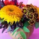 fall ideas for table centerpieces with pumpkin and flowers-good source for ideas