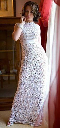 Длинное платье крючком схема. Вязаное свадебное платье |