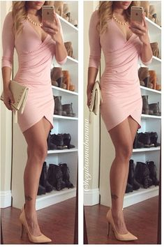 Wrap Genius Ruched Tulip Hem Dress - Baby Pink