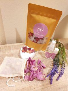 The Bath to Bed Gift Box — S&S Soap Sisters Best Bath, Lip Moisturizer, Gift Sets, Cotton Bag, Bath Salts, Rose Petals, Bath Bombs, Lip Balm, Peppermint