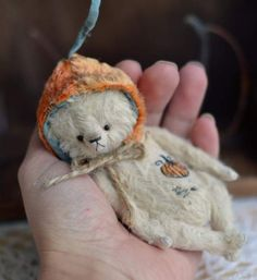 Little Pumpkin By Olya Isaenkova - My new two little bears - pumpkins! Here is the light one. He is made from German viscose and firmly stuffed with pine sawdust. He is fully jointed and has a mobile head, legs and arms. On his belly, there is an embroidery of a pumpkin. He wears a plush hat with a pumpkin ponytail ...