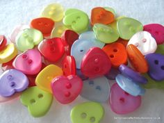 11mm Resin Heart Shape Buttons Mixed Colours Pack of 50 buttons by berrynicecrafts, £2.00 #etsy #button #heart