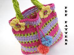 Chicas colorido bolso / monedero Crochet patrón PDF por EvasStudio