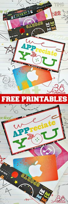 Teacher Appreciation Gift Ideas and Free Printables. So many great ideas!