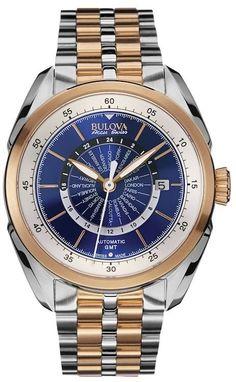 Bulova Men's Accu Swiss Automatic Two Tone Stainless Steel World Time Watch - 65B163