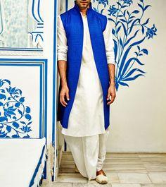 Blue & White Embroidered Sherwani With Silk Kurta Set- for Ali's wedding iA Mens Indian Wear, Mens Ethnic Wear, Indian Groom Wear, Indian Men Fashion, Indian Attire, Indian Outfits, Fashion Men, Mens Sherwani, Wedding Sherwani