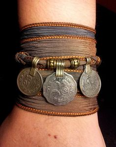 Storm Boho Silk Wrap Bracelet with Tribal Kuchi Coins, Belly Dance, Kuchi Jewelry, Hooping, Yoga Bracelet, Brown Grey w/Gold Accents