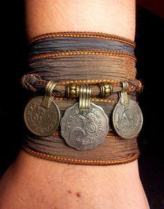 Storm Boho Silk Wrap Bracelet with Tribal Kuchi Coins, Belly Dance, Kuchi Jewelry, Hooping, Yoga Bracelet, Brown Grey w/Gold Accents