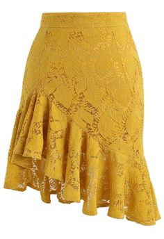Paradisiacal Asymmetric Frill Hem Lace Skirt in Mustard- New Arrivals - Retro, I. - Paradisiacal Asymmetric Frill Hem Lace Skirt in Mustard- New Arrivals – Retro, Indie and Unique F - Frilly Skirt, Ruffle Skirt, Dress Skirt, Mustard Yellow Skirts, Mustard Skirt, Unique Fashion, Fashion Ideas, Work Fashion, Fashion Fashion