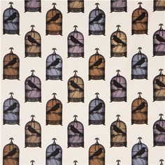 white animal fabric Michael Miller colourful bird cages
