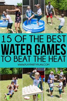 Whether you're looking for outdoor water games for kids or easy games for summer birthday parties, these 15 water games are for you! They are perfect for field day, summer camp, and more! camp 15 of the Most Fun Water Games Backyard Water Games, Water Balloon Games, Outdoor Water Games, Water Games For Kids, Games For Boys, Summer Activities For Kids, Backyard Ideas, Sleepover Activities, Water Party Games