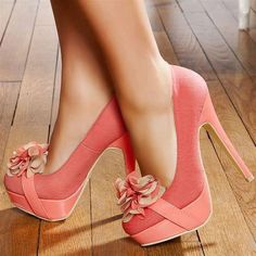 coral pink w/ flower #shoes #heels #flowers