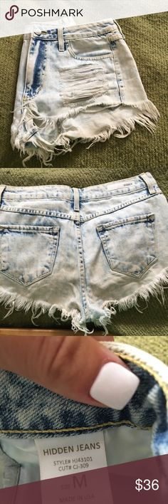 Acid wash Jean shorts High waisted.  Worn once.  Distressed denim.  Size medium.  Hidden Jeans brand.  Picture of me in them. Smoke free home!  Perfect for fall with booties and a big sweater!  Tagged brand for views. Urban Outfitters Shorts Jean Shorts