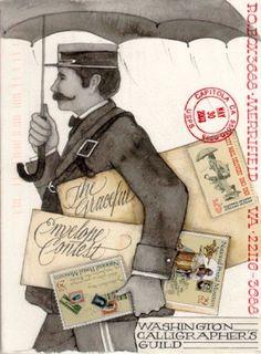 ✉ Graceful Envelope contest ✉ Snail mail art at its best. Arte Black, Mail Art Envelopes, Envelope Art, Envelope Design, Fun Mail, Decorated Envelopes, Umbrella Art, Poster Art, Going Postal