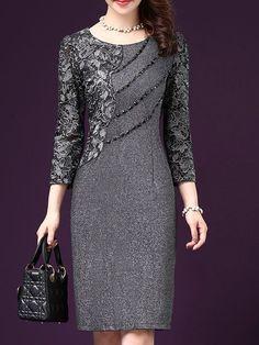 Shop Dresses - Gray Crocheted Sheath Long Sleeve Plus Size Dress online. Discover unique designers fashion at PopJuLia.com.