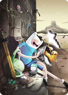 An awesome Adventure Time parody of Moebius's Starwatcher illustration by Joe Sutton.