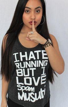 I Hate Running But I Love Spam Musubi Ladies Tank
