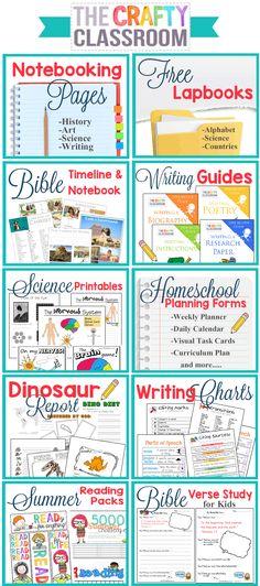 Homeschool Printables on The Crafty Classroom