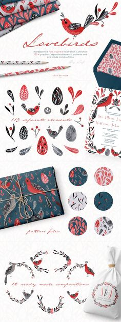 Lovebirds handpainted folk graphics  by By Lef on @creativemarket