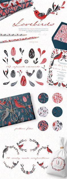 Lovebirds handpainted folk graphics  by By Lef on @creativemarket #folkart #pattern #ornament #floral