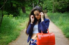 floral print, furla candy bag, combine navy outfit, blue sandals, street style