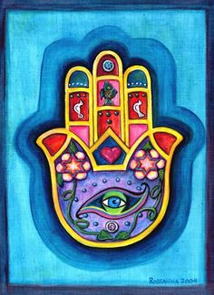 "Hamsa, Arabic for ""five"". Known as a sign of protection and defense against the evil eye."