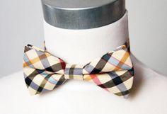 Men Cream Check Bow Tie Bowtie  Pretied Double Bow