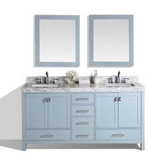Pacific Collection 60-inch Malibu Gray Double Modern Bathroom Vanity with White Marble Tops (Mirror Included), Grey, Size Double Vanities