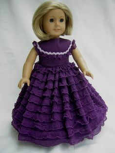 Purple Civil War Southern Belle Dress Fits Ameican Girl Dolls/ Gone with the Wind Hoop Dress Fits & Bitty Baby/ Hoop Dress for Doll American Girl Outfits, American Doll Clothes, Ag Doll Clothes, Doll Clothes Patterns, American Girls, Nice Dresses, Flower Girl Dresses, Doll Dresses, Doll Outfits