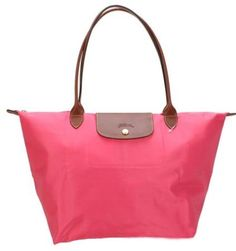 Pink Longchamp Le Pliage Folding Tote Bag