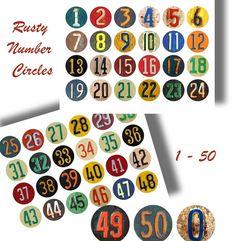 DIGITAL RUSTY NUMBERS Craft Circles Vintage by DigitalAlice