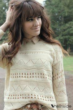 #SheInside Beige Geometric Eyelet Embellished Knit Jumper Sweater - Sheinside.com