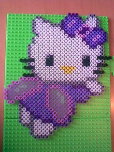 Fairy Hello Kitty perler beads by Concetta D. Melty Bead Patterns, Pearler Bead Patterns, Perler Patterns, Beading Patterns, Hello Kitty Crochet, Hello Kitty Jewelry, Peler Beads, Iron Beads, Melting Beads