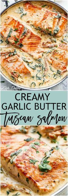 Creamy Garlic Butter Tuscan Salmon (OR TROUT) is such an incredible recipe! Restaurant quality salmon in a beautiful creamy Tuscan sauce! | https://cafedelites.com