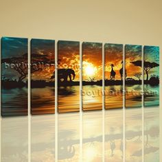 "Huge Canvas Print HD Africa Landscape Tree Elephant Sunset Glow Wall Art Design Extra Large Wall Art, Gallery Wrapped, by Bo Yi Gallery 76""x36"". Huge Canvas Print HD Africa Landscape Tree Elephant Sunset Glow Wall Art Design Subject : Landscape Style : Contemporary Panels : 7 Detail Size : 10""x36""x7 Overall Size : 76""x36"" = 193cm x 91cm Medium : Giclee Print On Canvas Condition : Brand New Frames : Gallery wrapped [FEATURES] Lightweight and easy to hang. High revolution giclee..."