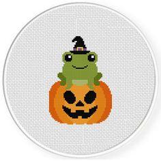 Jack-o-Lantern Frog Cross Stitch Pattern Free Cross Stitch Charts, Simple Cross Stitch, Cross Stitch Patterns, Perler Bead Art, Perler Beads, Jack O Latern, Cute Frogs, Halloween, Cross Stitching